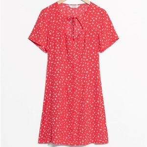 & Other Stories Floral Red Mini Dress